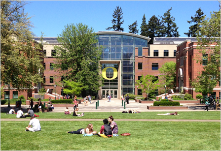 View of Lillis Business Complex from the UO Memorial Quad