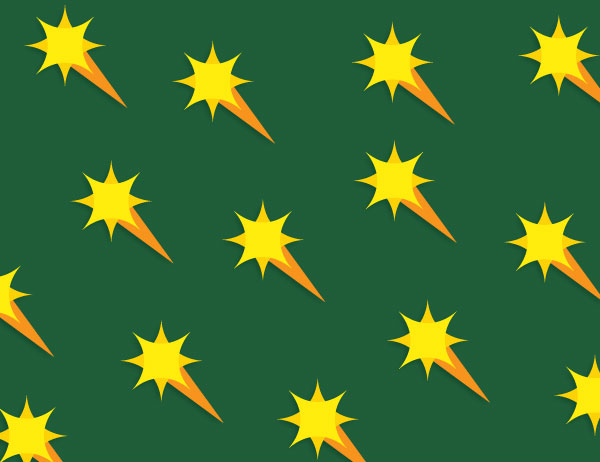 Pattern of starbursts in yellow against a green background