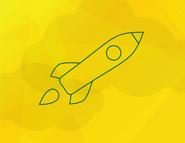 Green lined icon of a rocket against a yellow background