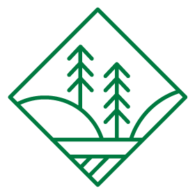 Icon illustration for sustainable business practices showing a diamond shape with sun, river, and trees