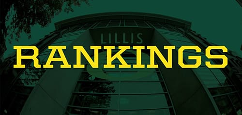 "The word ""rankings"" against a background of the Lillis Business Complex"