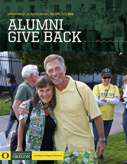 Cover of the 2015 issue of the UO Department of Accounting Prospectus with Helen Gernon and a former student at the alumni tailgate event.