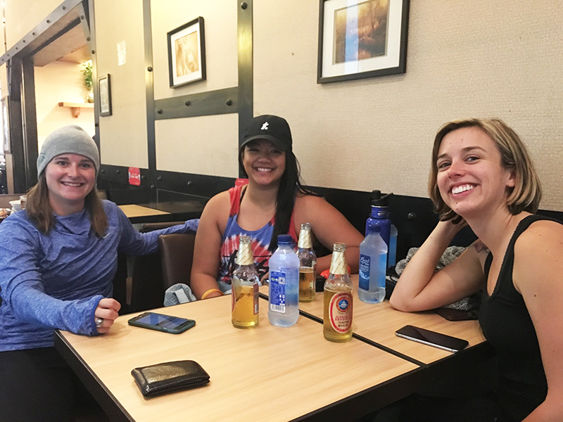 Exchange students take a break between flights