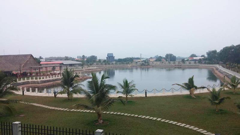 View of a lake and Vietnamese landscape