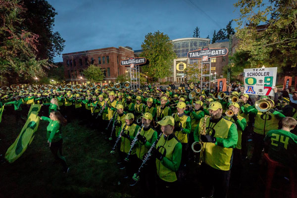 The UO marching band plays in front of the Lillis Business Complex during College GameDay