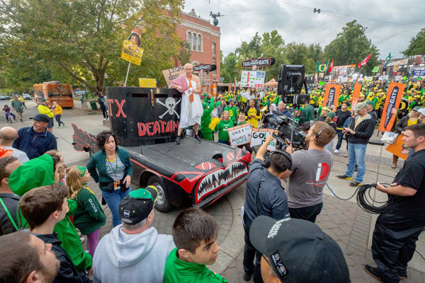 Replica of Animal House car during a GameDay skit
