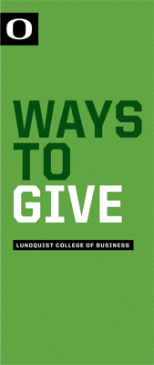 Cover of Ways to Give brochure for the college.