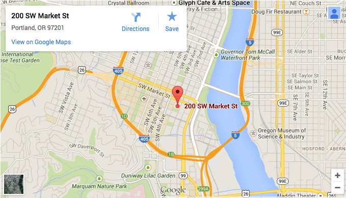 Map showing the location of the Oregon Executive MBA in downtown Portland