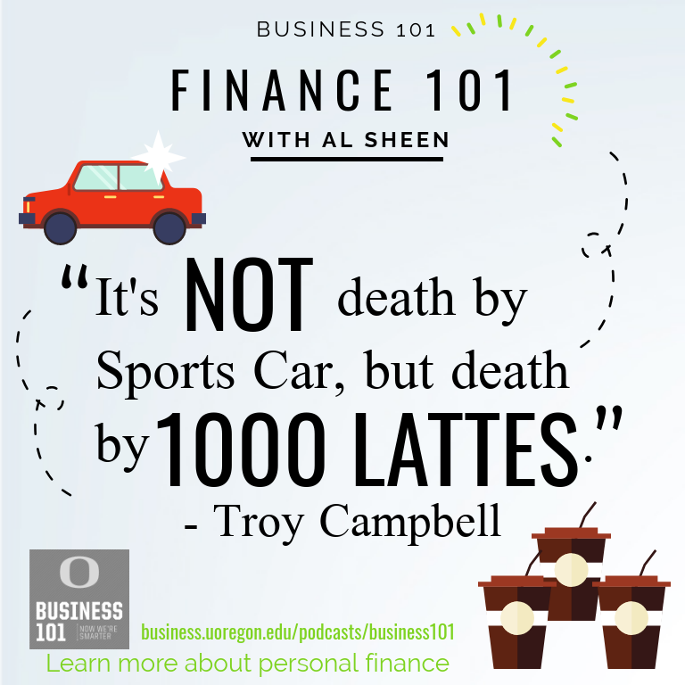 "Illustration of the quote ""It's not death by sports car, its death by 1,000 lattes"""
