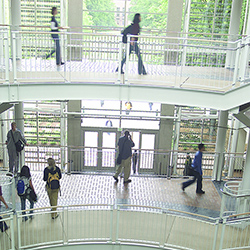 Students traverse the landings in the Lillis Business Complex
