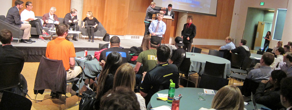 Photo of students, audience, and judges at the Civil War Shark Tank event in 2014