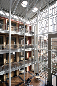 The Lillis Atrium is a central element of the sustainable design, controlling the buildings thermal mass