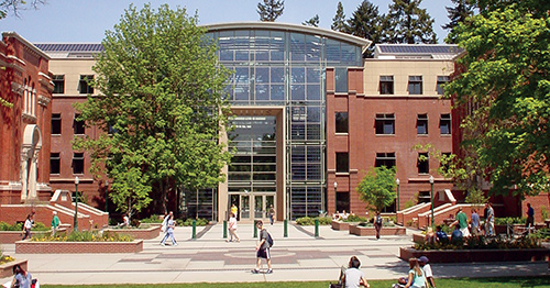 The Lillis Business Complex from the UO Memorial Quad in summer