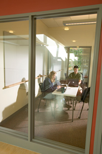 Students in a study space in the Lillis Complex
