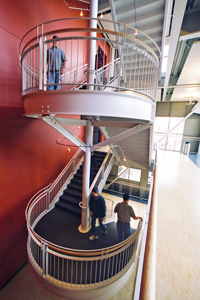 Northwest stair case with eco paints and Marmoleum flooring in the Lilllis Business Complex