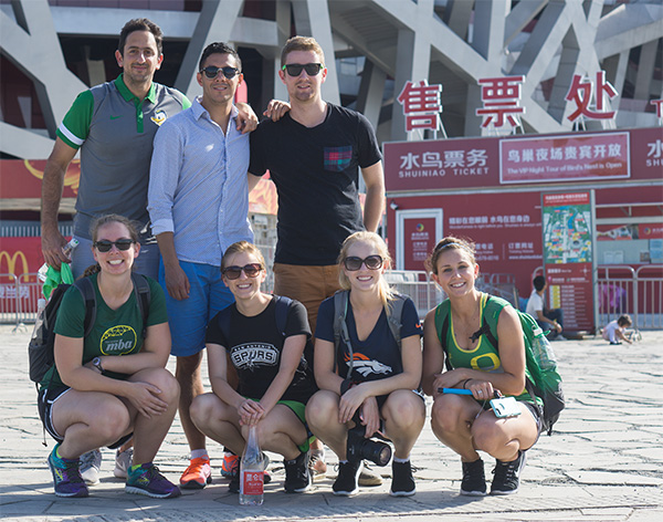 Oregon MBA students in front of the Bird's Nest in Beijing during the Engaging Asia study tour