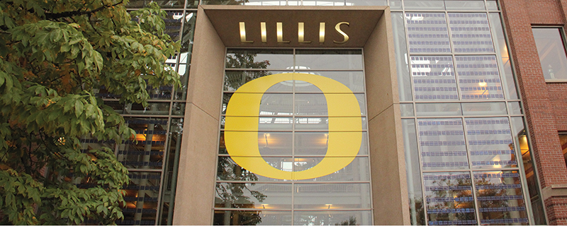"Lillis Comples south facade with giant UO ""O"""