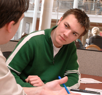 Photo: a student receives career advice