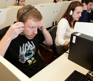 Students participate in a research study in the Business Research Institute
