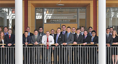 UO Investment Group in front of the Cameron Finance Suite in the Lillis Complex in 2013
