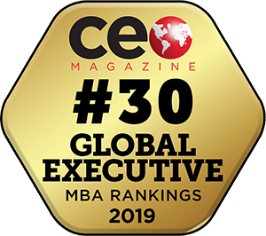 Number 30 CEO Magazine Global Ranking gold badge in a hexagon shape