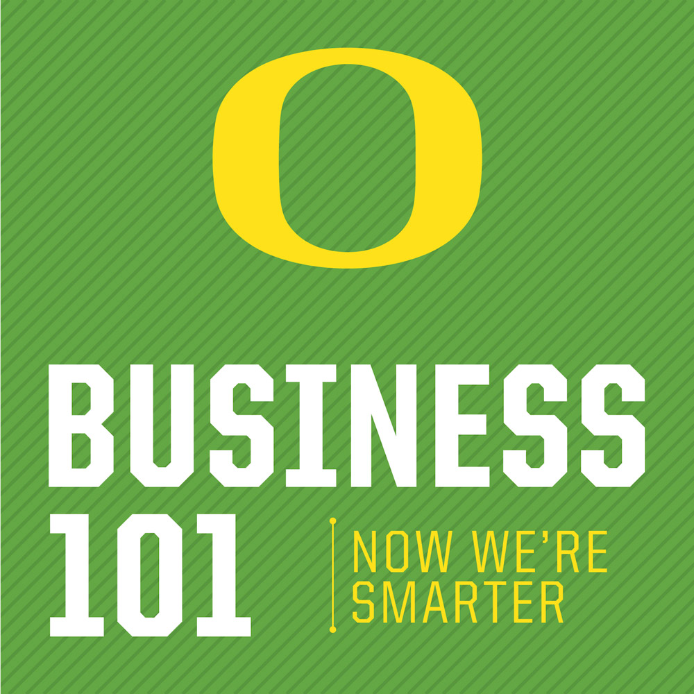 """Business 1O1 podcast logo with UO """"O"""" and """"Now We're Smart"""" tagline"""