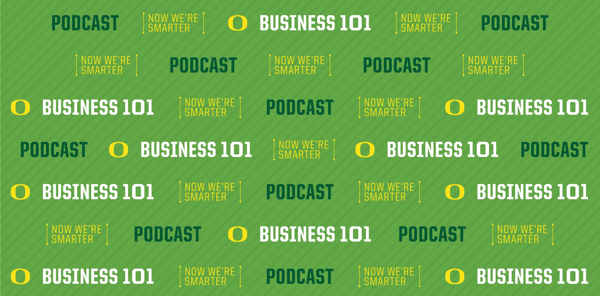 Illustration with the Business 1O1 podcast logo, Oregon O, and the word Podcast on a green background