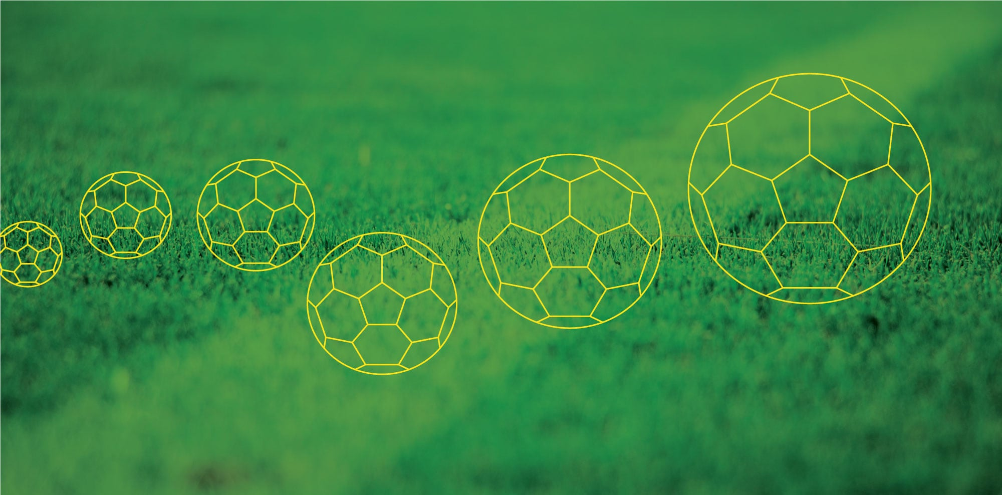 Graphic of soccer balls on background of grass