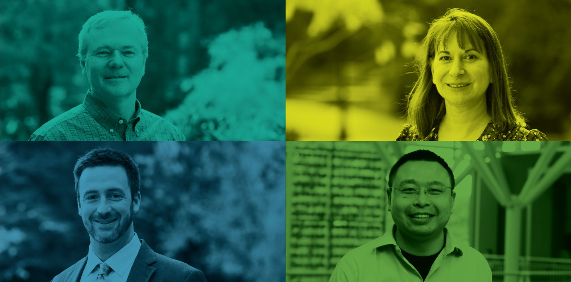 Compilation of profile photos of new faculty members Maria Kraimer, Scott Seibert, Robert Ready, and Yinchu Zhu