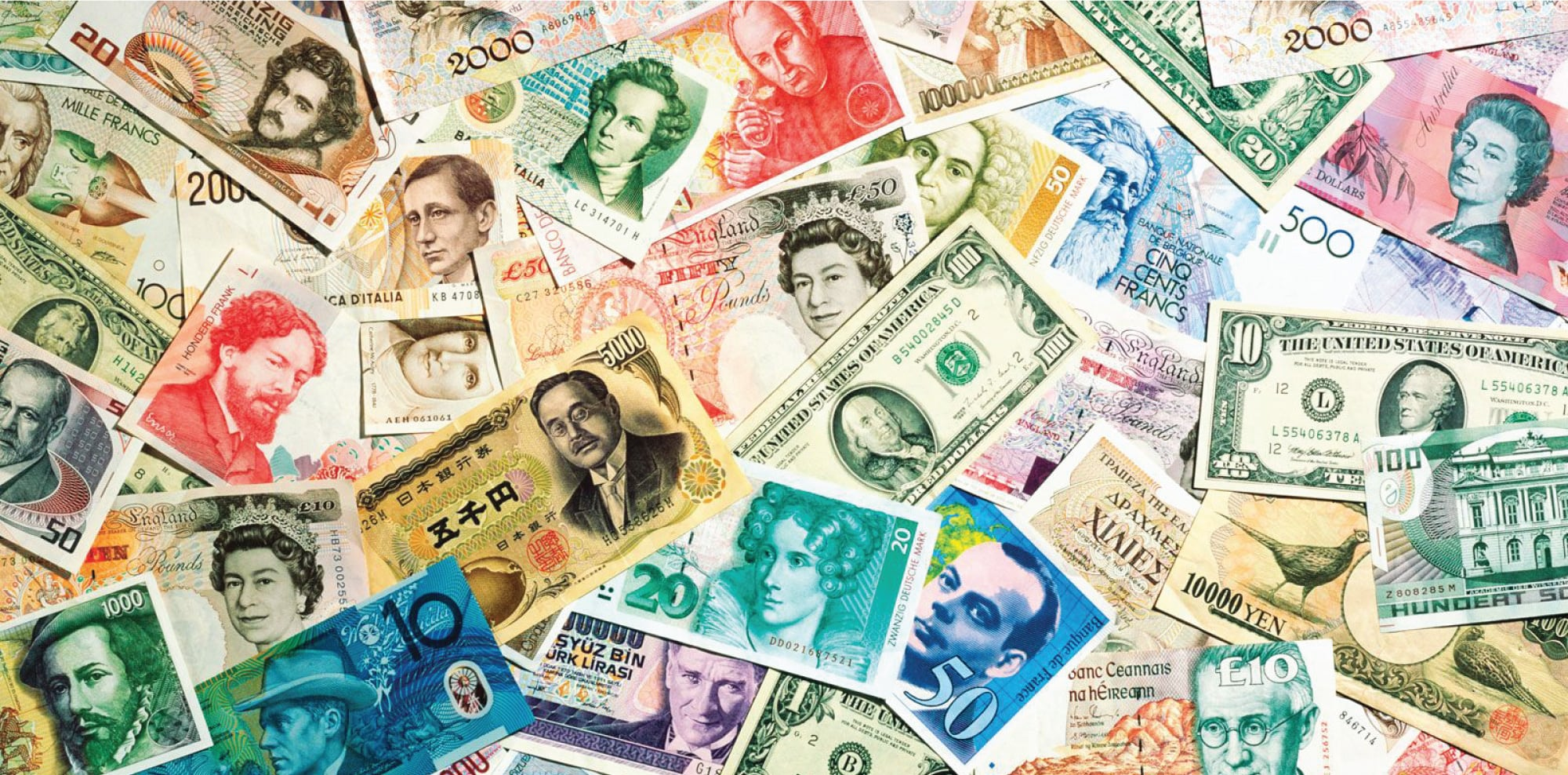 Large stock image of foreign currency all jumbled together