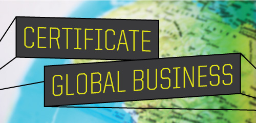 "Illustration graphic with the words ""Global Business Certificate"" in gray blocks appearig as if 3D on top of a globe"