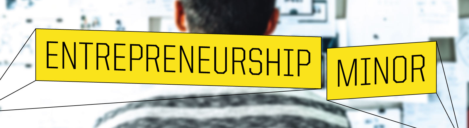 """Illustration graphic with the word """"Entrepreneurship Minor"""" in yellow blocks appearig as if 3D"""