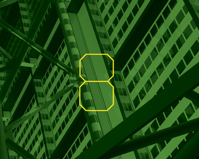 Illustration photo of the Lillis Complex solar glass with the number 8 overlaid