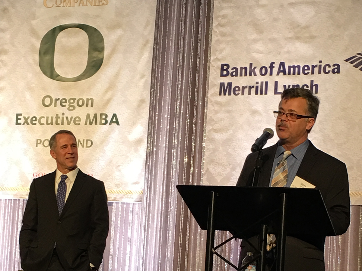 Oregon Executive MBA's Dave Boush spoke at the Oregon's Most Admired Companies lunch.