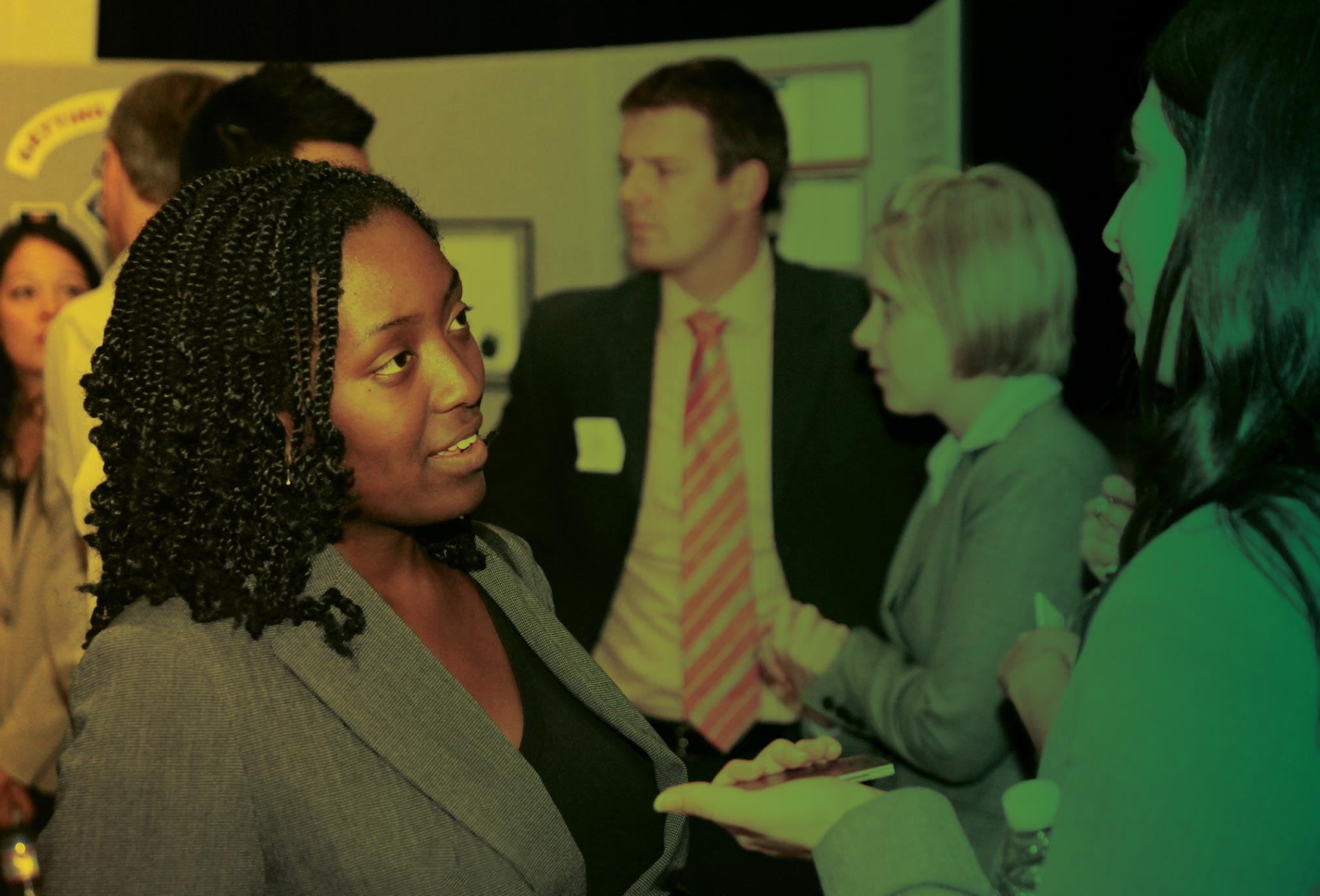 Employers and MAcc students network at a career event