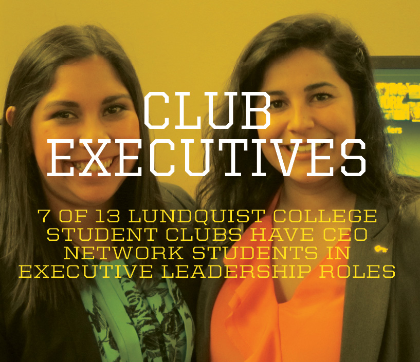 Photo of two women behind text 'Club Executives'