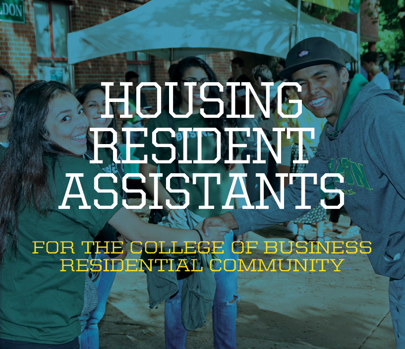 Photo of a group of students behind text 'Housing Resident Assistants'