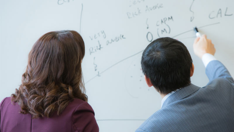 A student and professor discuss work on a whiteboard