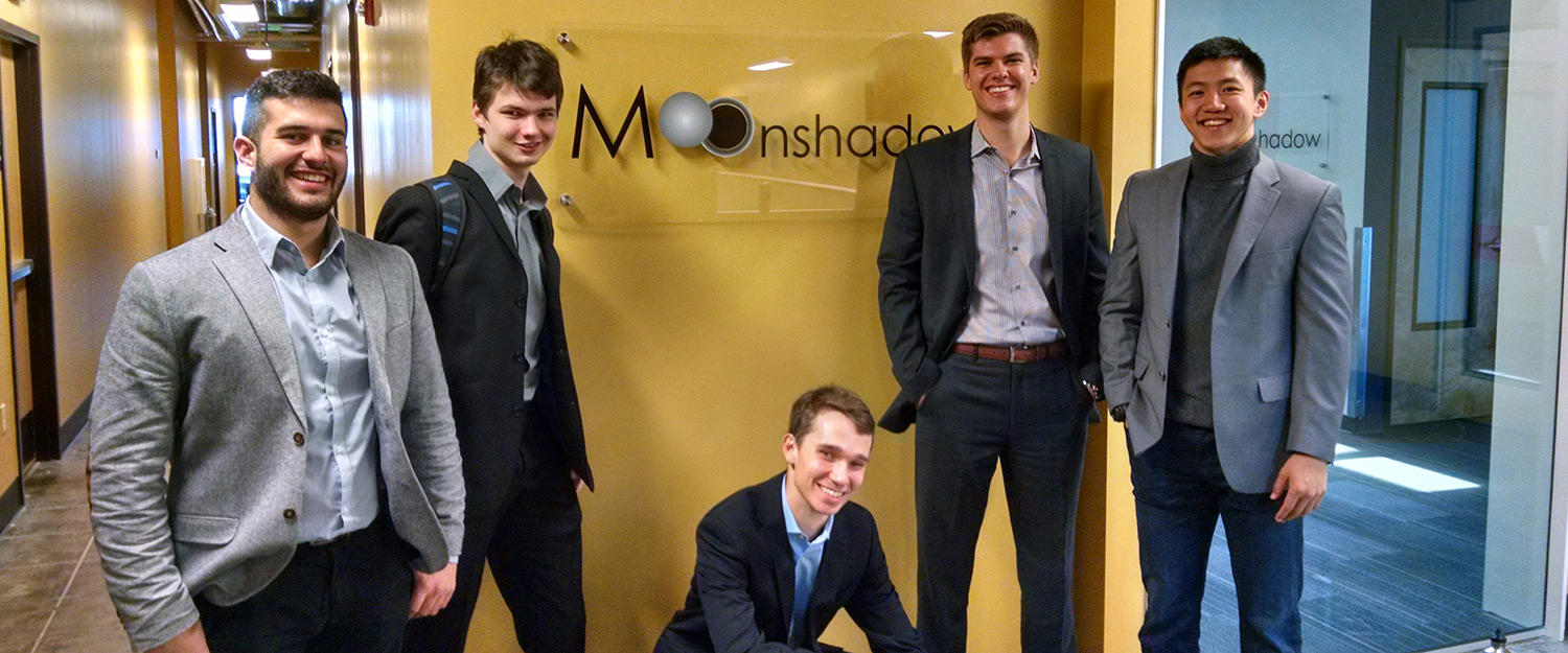 OBCG students pose in front of the Moonshadow offices