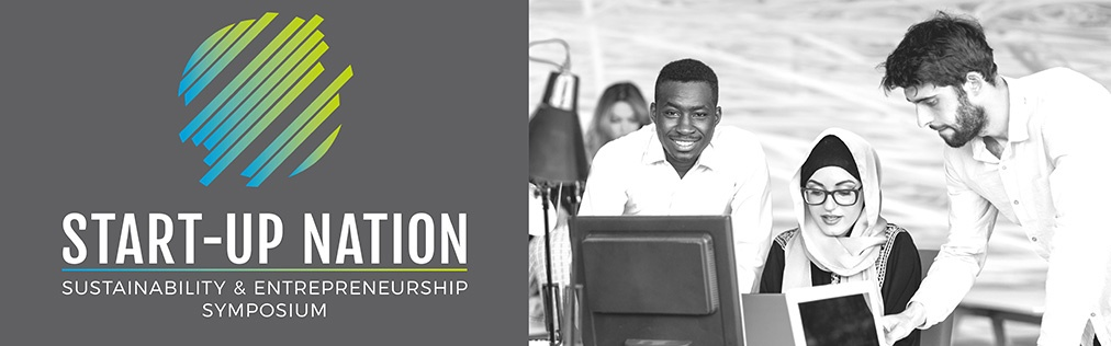 Illustration with Start-Up Nation event logo with a photo showing a diverse set of students working together