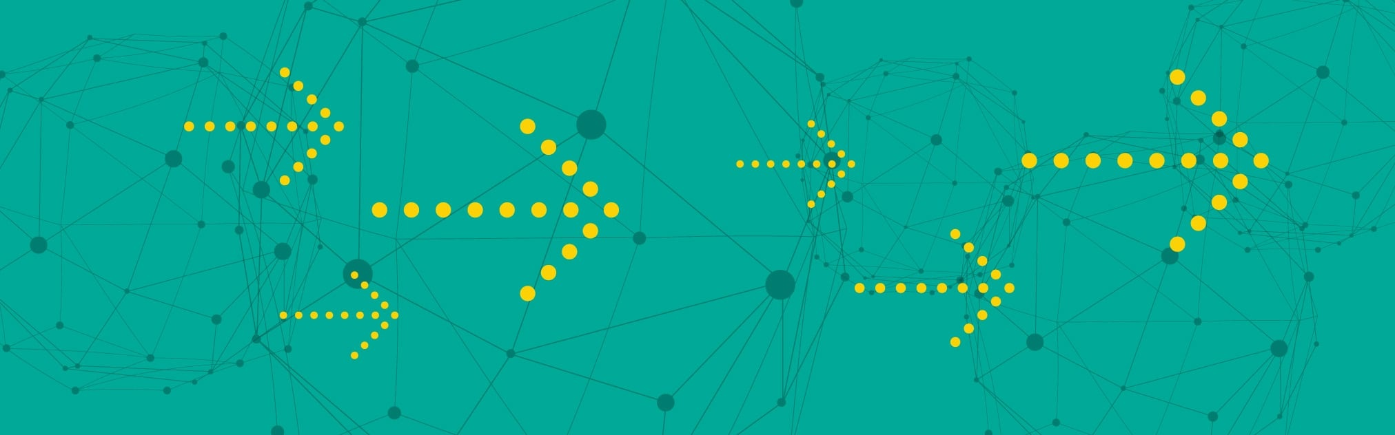 Graphic of yellow arrows over a teal background
