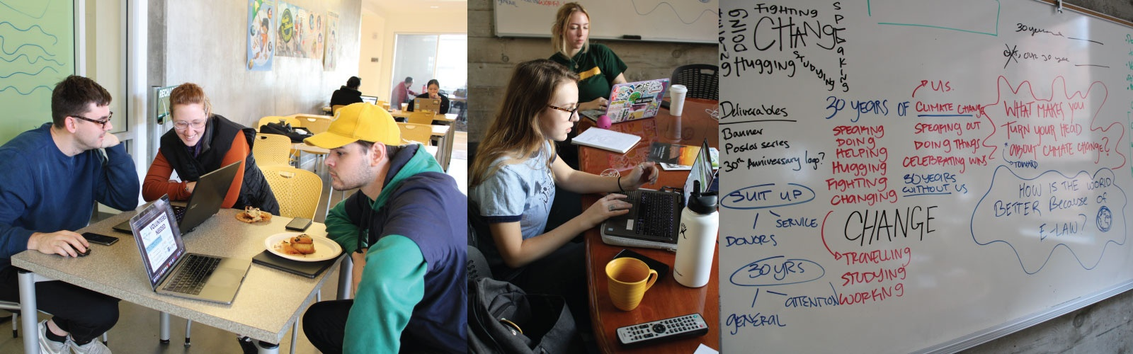 Collage of photos of students planning their projects during CreateAthon