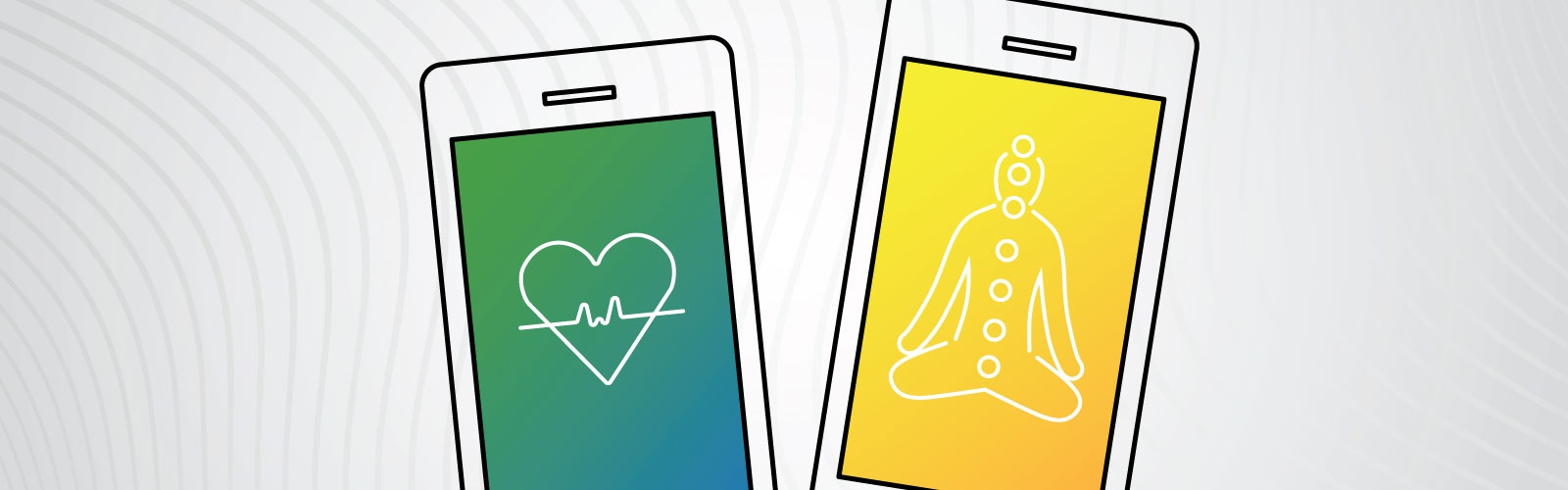 Graphic design illustrating two cellphones. One screen displays a heart with EKG symbols against a green and blue background while the other displays a meditating person with chakra points against a yellow background.