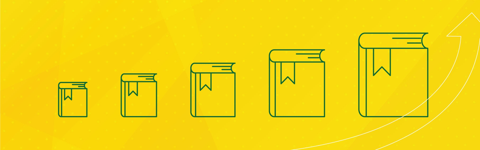 Green line illustration of books on a yellow background