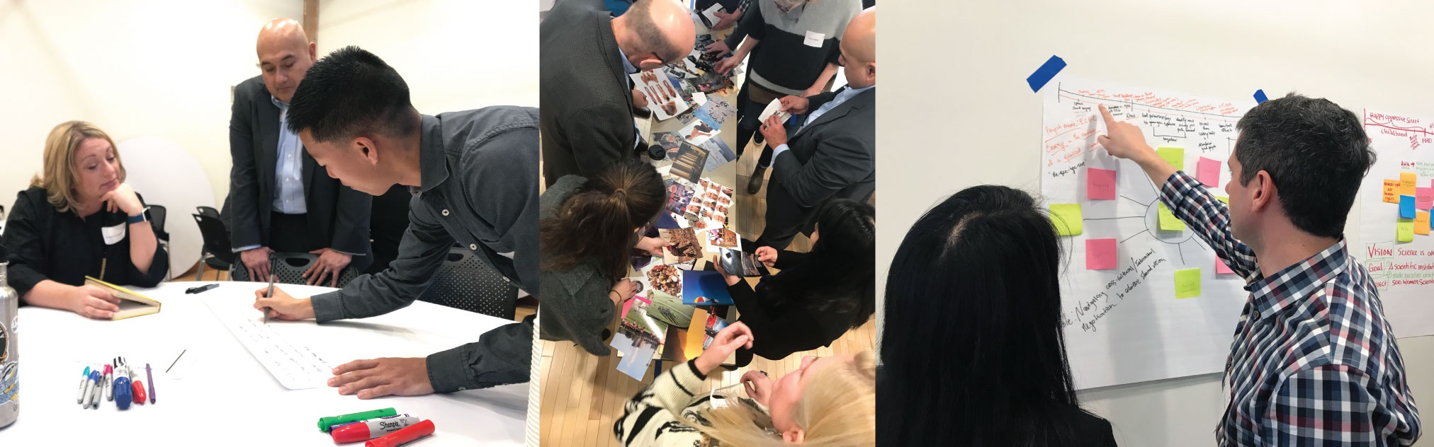 Collage of photos of people working together during the Grist-UO workshops