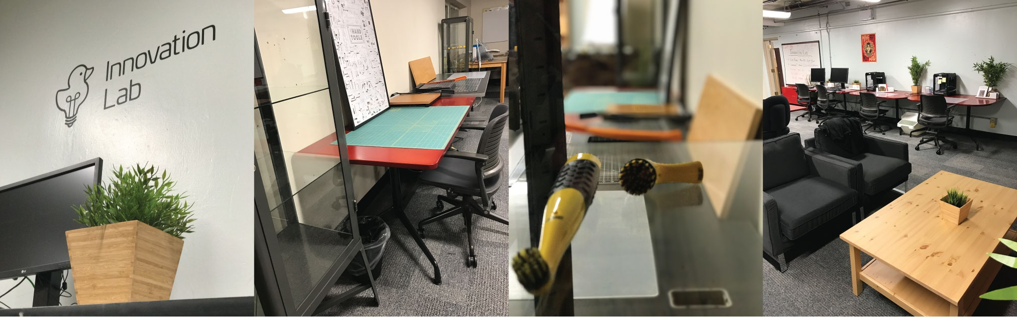 Collage of photos of the Innovation Lab space