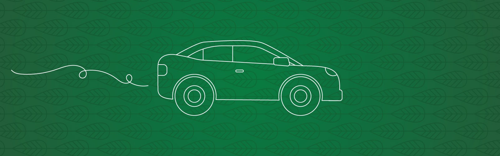 White lineart of a car against a dark green background