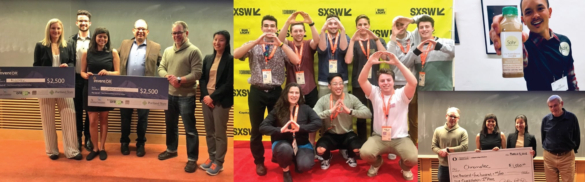 Collage of photos showing startups Chromatec, Algotek and, Sohr and students throwing the O at SXSW