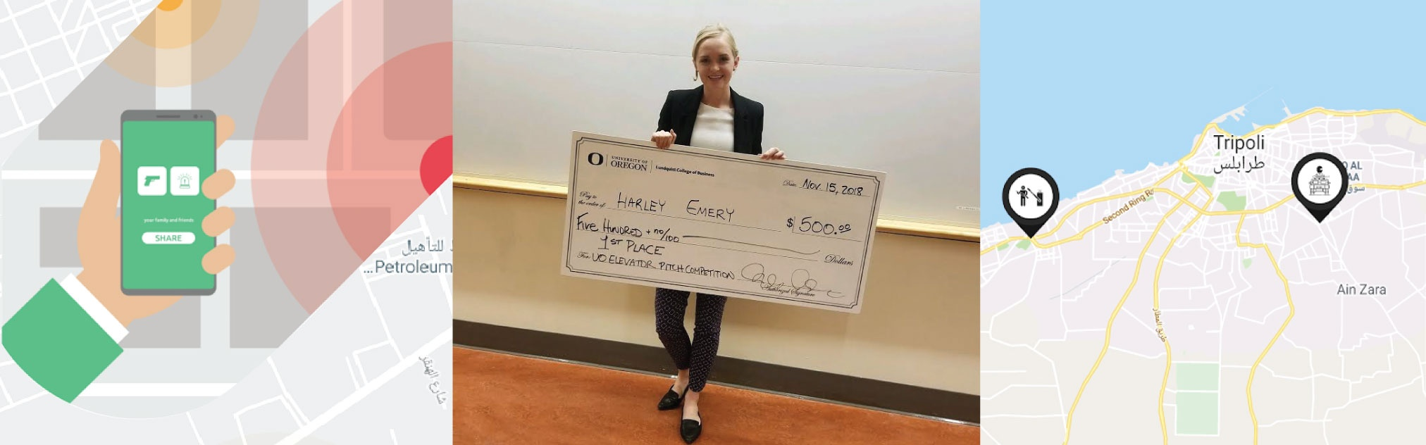 Averto cofounder Harley Emery poses with her award from an elevator competition