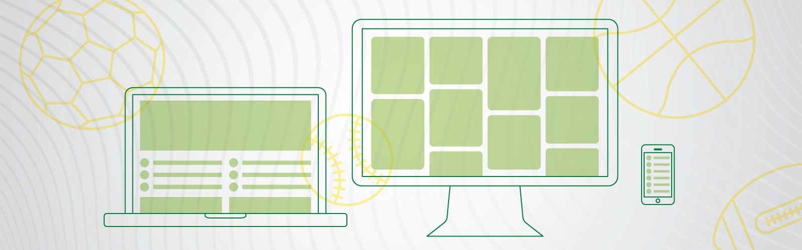 Green iconography of a computer monitor and laptop against a light gray background